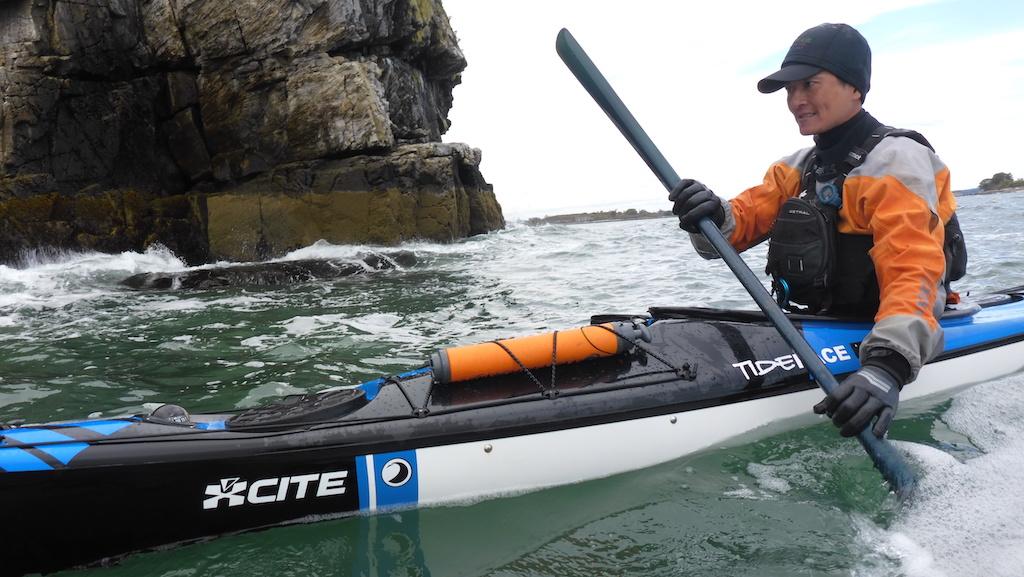 Chungshih paddling a Tiderace Xcite