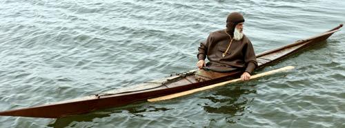 Turner Wilson in a skin on frame kayak