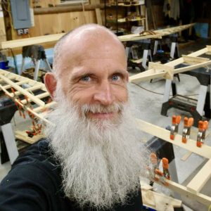 Turner Wilson is his kayak building barn.